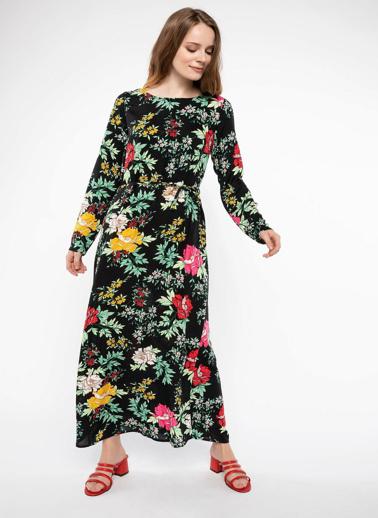 DeFacto Desenli Elbise Siyah